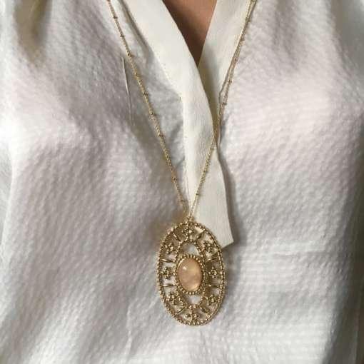 Sautoir perle semi précieuse